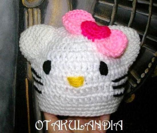 gorro kitty bebe crochet-otakulandia.es