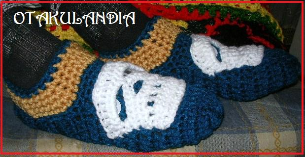 pantuflas calavera crochet