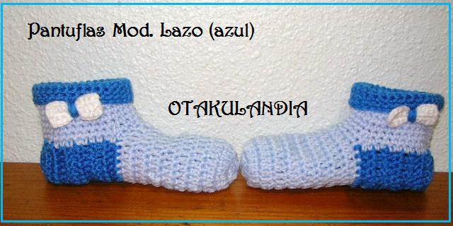 pantuflas sra. azul crochet