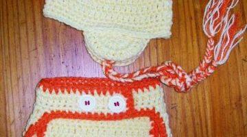 conjunto pollito bebe crochet