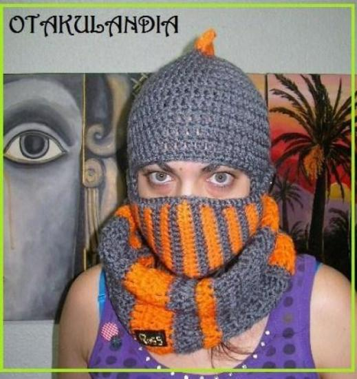 conjunto casco y braga medieval-crochet-otakulandia.es