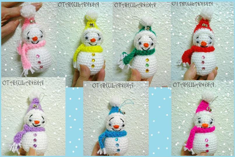 munecos nieve crochet-adorno navidad-otakulandia.es