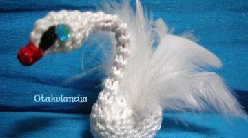 cisne blanco-miniatura crochet-otakulandia.es