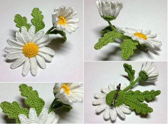 margaritas crochet-broche-otakulandia.es