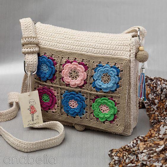 Bolso crochet algodon y tapa flores varios colores para Anabelia