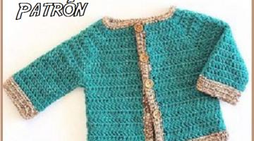 chaquetita bebe-cardigan-patron crochet-otakulandia.es