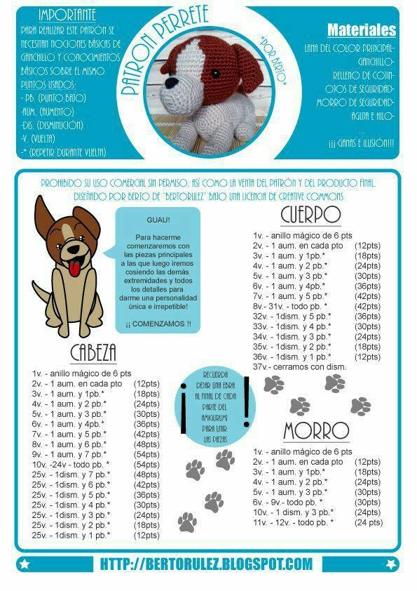 patron perrito amigurumi crochet-otakulandia.es