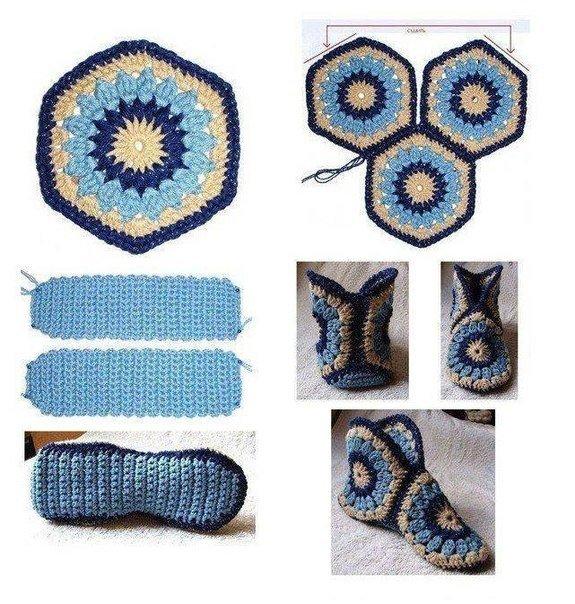 10 Patrones Pantuflas (Zapatillas) Crochet | Otakulandia.es
