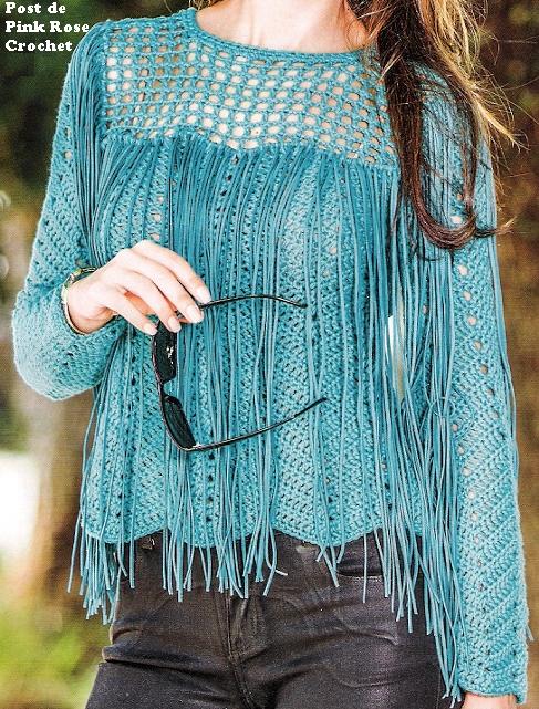 blusa turquesa con flecos-crochet-otakulandia.es