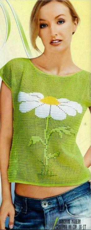 camiseta margarita crochet-otakulandia.es