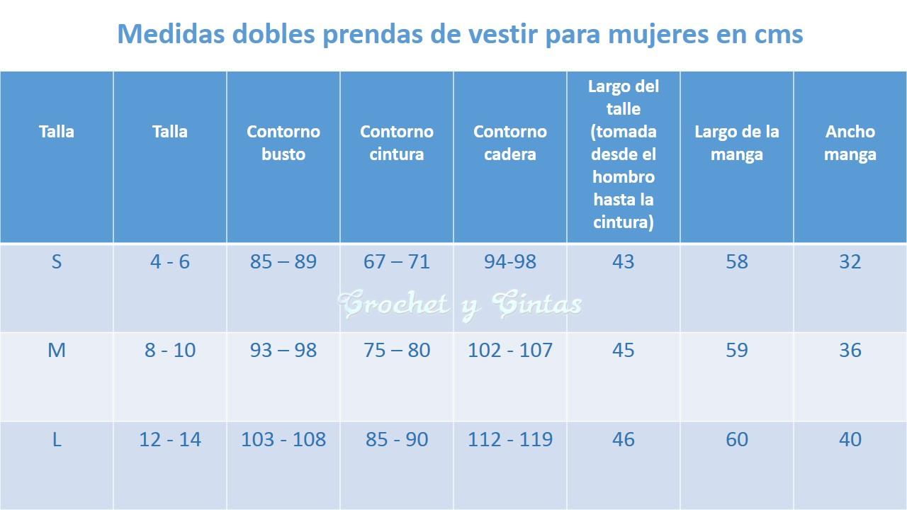 TABLA DE MEDIDAS ROPA PARA MUJERES-otakulandia.es