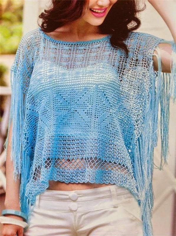 poncho azul flecos crochet-otakulandia.es (1)