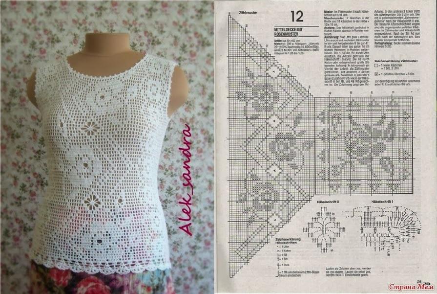 blusa filet zig zag blanca crochet-otakulandia.es