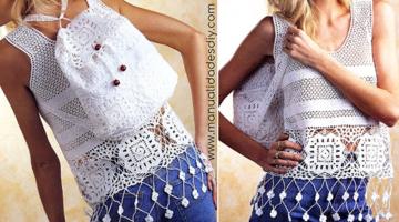 Conjunto Top Mochila-crochet-patron-otakulandia.es