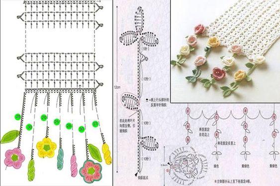 bufanda romantica crochet-graficos-otakuandia.es