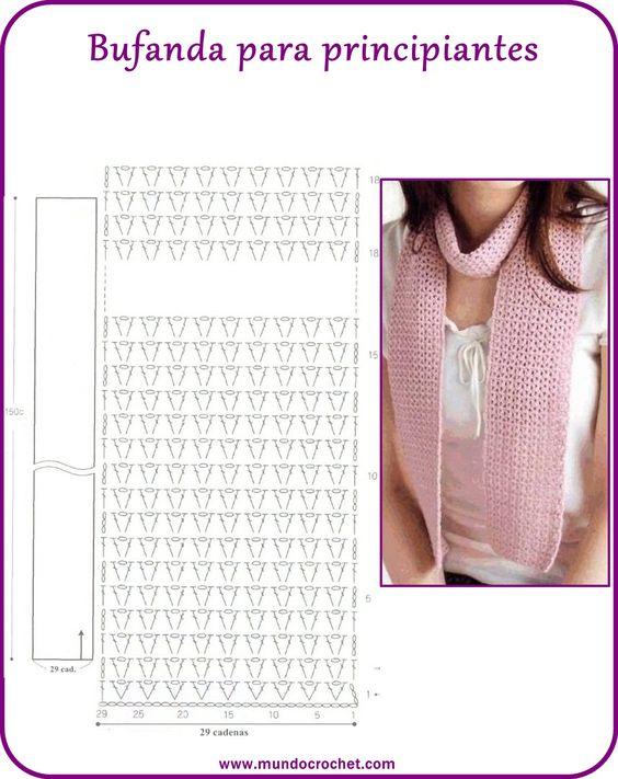 bufanda sencilla crochet-esquema-otakulandia.es