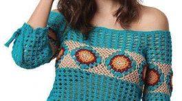 blusa mujer crochet-manga larga-otakulandia.es