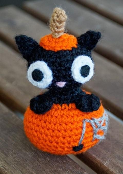 halloween gato negro amigurumi-otakulandia.es